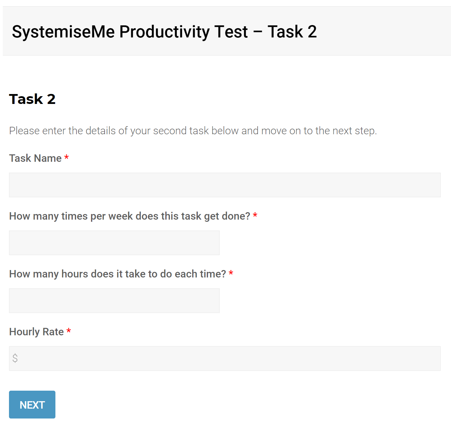 Productivity test example